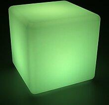 LED Leuchtwürfel 40cm Sitzwürfel multicolor RGB mit Fernbedienung aufladbar Innen Außen IP65 Würfelleuchte Würfel Deko