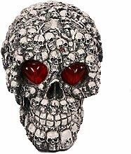 LED Licht-Up Augen Beängstigend Schädel Kopf Halloween Party Home Schreibtisch Dekoration Requisiten Dekor