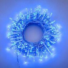 LED-Lichterkette 13,1 m, 180 MiniLEDs blau, transparentes Kabel, Zuleitungskabel 4 m, memory controller 7 Lichtspiele + Dauerlicht, 2,7 W, 30VTrafo inkl., innen/außen
