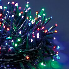 LED-Lichterkette 25,5 m, 360 MiniLEDs Ø 3 mm Multicolor Plus (rot, lila, grün und blau), grünes Kabel, Zuleitung 4 m, 7 Lichtspiele + Dauerlich, 30V-Trafo