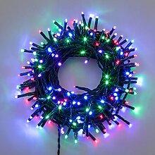 LED-Lichterkette 34,1 m, 480 MiniLEDs Ø 3 mm Multicolor Plus (rot, lila, grün und blau), Zuleitung 4 m, grünes Kabel, 7 Lichtspiele + Dauerlicht, 30V-Trafo