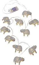 LED-Lichterkette Elefant, silber