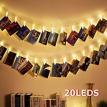 LED Lichterkette Fotoclips Batterie,20 LED 7.2ft batteriebetriebene Lichter mit Foto-Clips für Schlafzimmer Hochzeit Weihnachten vorschlagen Home Decor Batterie Lichter für hängende Karten und Artwork