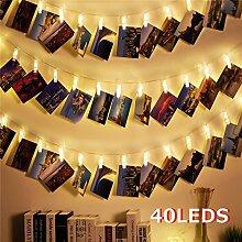 LED Lichterkette Fotoclips Batterie,40 LED 13ft
