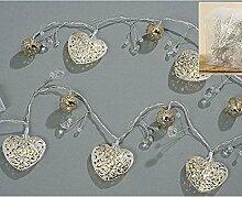 LED Lichterkette HERZ 10er L160 cm Lichtkette Alu warmweiß Licht Silber