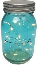 LED-Lichterkette im blauen Einmachglas