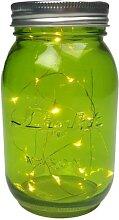 LED-Lichterkette im grünen Einmachglas