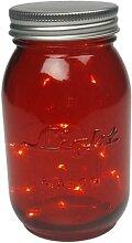 LED-Lichterkette im roten Einmachglas