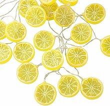 LED Lichterkette mit Batterie gelb Zitrone Scheibe