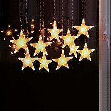 LED Lichterkette Stern mit 100 LED-Lichter für Innen 2,70x30cm - Sternenvorhang Lichtervorhang Weihnachtsdekoration Fensterdekoration