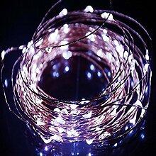 LED Lichterketten Kupferdraht Lichterkette Lichterdraht Schnur Licht String Kupferdraht Weihnachtsdeko 100LED 10M wasserdichte Garten Hochzeit Party Weihnachtsbeleuchtung IP65 Batterie - JLySHOP (White)