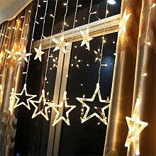 LED Lichtervorhang, 12 Sterne Lichterkette 138er
