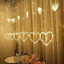 LED Lichtervorhang Lichterkette 12 Herz 138pcs LED