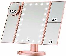 LED Makeup Vanity Mirror, 1X/2X/3X Vergrößerung,