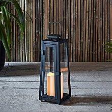 LED Metall Solarlaterne Yarra mit Kerze 29,5cm hoch Außenbereich Lights4fun