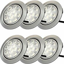 LED Möbeleinbauleuchten 12V flach 6 x 3W