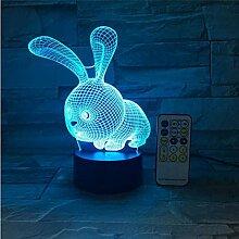 Led Nachtlicht 3D Cartoon Kaninchen Hase USB Touch