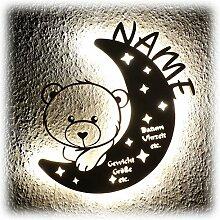 LED Nachtlicht Bär auf Mond mit Name