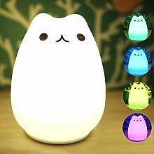 LED Nachtlicht, eBasic Silikon Katze Nachtlichter mit Multifunktionaler Fernbedienung mit 7 Lichtmodi, für Kinder mädchen BabyTisch Spielzeug kinderzimmer Schlafzimmer Deko