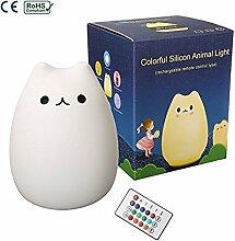 LED Nachtlicht, Elfeland ® Silikon Katze Nachtlichter mit Multifunktionaler Fernbedienung ( 12+1 Beleuchtungen, 6 Lichtmodi, 3- Heiligkeit ) für Baby Kinder Erwachsene Schlafzimmer Wohnzimmer Camping