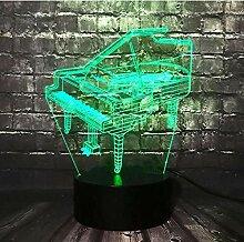 LED Nachtlicht Illusion 3D Musikinstrument Retro