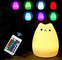LED Nachtlicht,WERTIOO Kinder Silikon Katze Nachtlichter mit 16 Beleuchtung, Stimmung Lampe mit eingebaute Akku, dimmbares Warmweiß/Farbwechsel mit Multifunktionaler Fernbedienung,Yoga Lampe für Kinder Baby Tisch Zimmer Schlafzimmer.