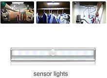 LED Nachtlichter mit Bewegungsmelder, Magnetische Schranklicht, Batteriebetrieben für Wandschrank Schrank Schrank Treppenhaus Flur Waschraum