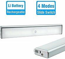 LED Nachtlichter mit Bewegungsmelder Schrankbeleuchtung Küchenlampe, USB Wiederaufladbar 4 Modi mit Magnet und 3M Aufkleber