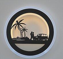 LED Nachttisch Lampe Wand Lampe Spiegel vorne Lampe Korridor Treppenhaus Lampe kreisförmig geschnitzte Lampe Kunst kreative Raum Lampe, Durchmesser 28CM Kokos Wind 15WLED