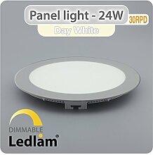 LED Panel 24 Watt rund 30cm neutral weiß - silber