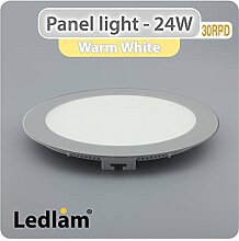 LED Panel 24 Watt rund 30cm warm weiß - silber,