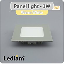 LED Panel 3 Watt quadratisch 8,5x8,5cm warm weiß