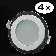 LED Panel Glas Dimmbar Rund Leuchte 6W Warmweiß