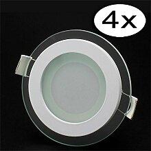 LED Panel Glas Ultraslim Rund Leuchte 6W Warmweiß