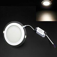 LED Panel Warmweiß 12W/Dimmbar Leuchte Glas Rund