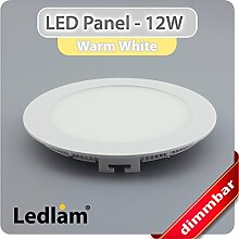 LED Panel weiss rund Ø 17cm 12 Watt warmweiß
