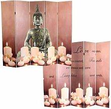 LED-Paravent Buddha, Trennwand Raumteiler, Timer