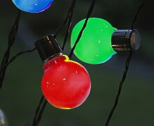 LED Party Lichterkette Glühbirne 16 tlg bunt Kabel schwarz Indoor / Outdoor