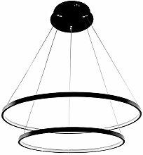 LED-Pendelleuchte Höhenverstellbar 2-Ring Schwarz