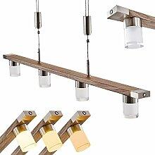 LED-Pendelleuchte Inari in Holz-Optik - Längliche