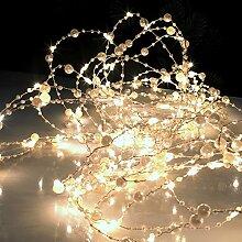 LED Perlen-Lichtergirlande 90 warmweiße LED Lichterdraht Lichterbündel