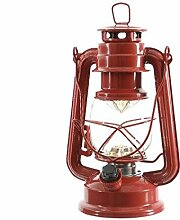 LED Petroleumlampe mit Drehschalter - Dimmbar - Batteriebetrieben - Farbe: Rot - Höhe 24,5cm - 15 LEDs - Moderne Tischleuchte