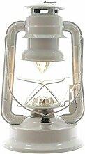 LED Petroleumlampe mit Drehschalter - Dimmbar - Batteriebetrieben - Farbe: Weiß - Höhe 24,5cm - 15 LEDs - Moderne Tischleuchte