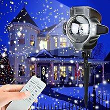 LED Projektionslampe als Weihnachtsdeko im Garten, MaLivent Niederspannung Projektor Schneeflocke wasserdicht nach IP65, Gartenstrahler mit Spotlights als Beleuchtung, Lichteffekt Deko für Garten Zimm (White)