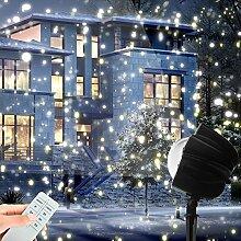 LED Projektionslampe als Weihnachtsdeko im Garten, MaLivent Niederspannung Projektor Schneeflocke wasserdicht nach IP65, Gartenstrahler mit Spotlights als Beleuchtung, Lichteffekt Deko für Garten