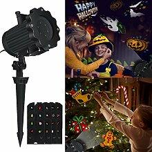 LED Projektionslampe Halloween Weihnachten Dekoration, Airlab Projektor Weihnachten Halloween mit 12 Verschiedenen und Austauschbaren Musters, Klarer und Heller Bilder, für Feste, Party, Innen & Außen Garten Wand Beleuchtung, Wasserdich