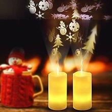 LED-Projektor Kerzen, flammenlose flackernde Kerze