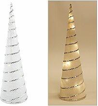 LED Pyramide 37 cm mit Glitzer - 8 warmweiße LEDs