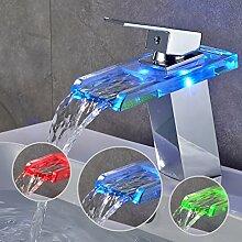 LED RGB Wasserhahn Waschtischarmatur Waschbeckenarmatur Wasserfall Einhebel Mischbatterie für Badzimmer