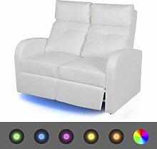 LED-Ruhesessel 2-Sitzer Kunstleder Weiß 09926 -